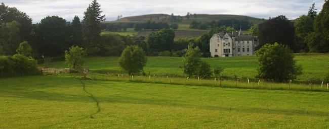 Bamff House amongst rolling hills