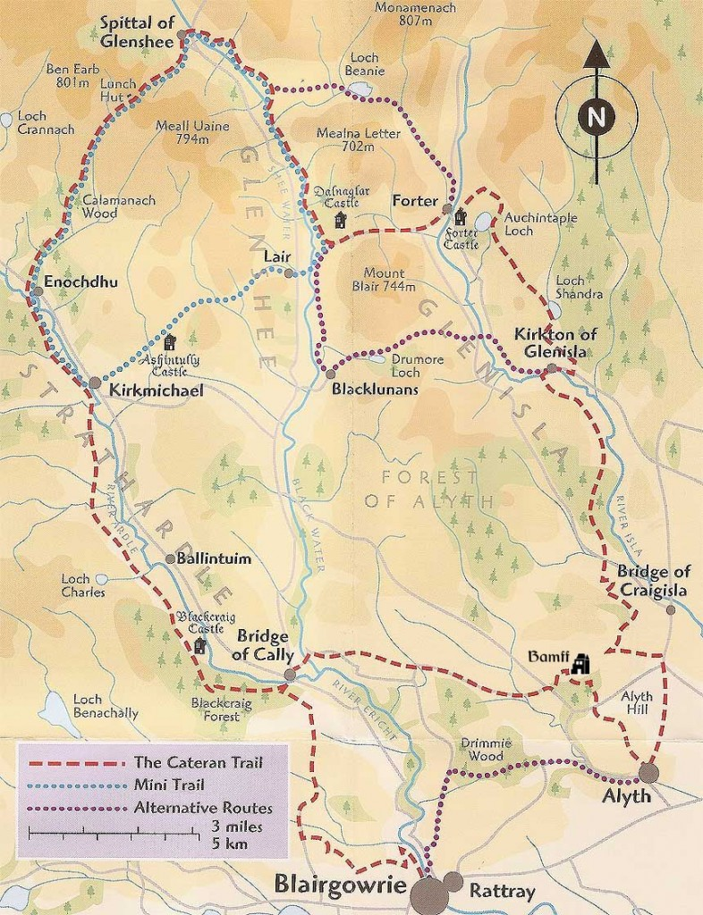 Map of section of Cateran Trail running through Bamff